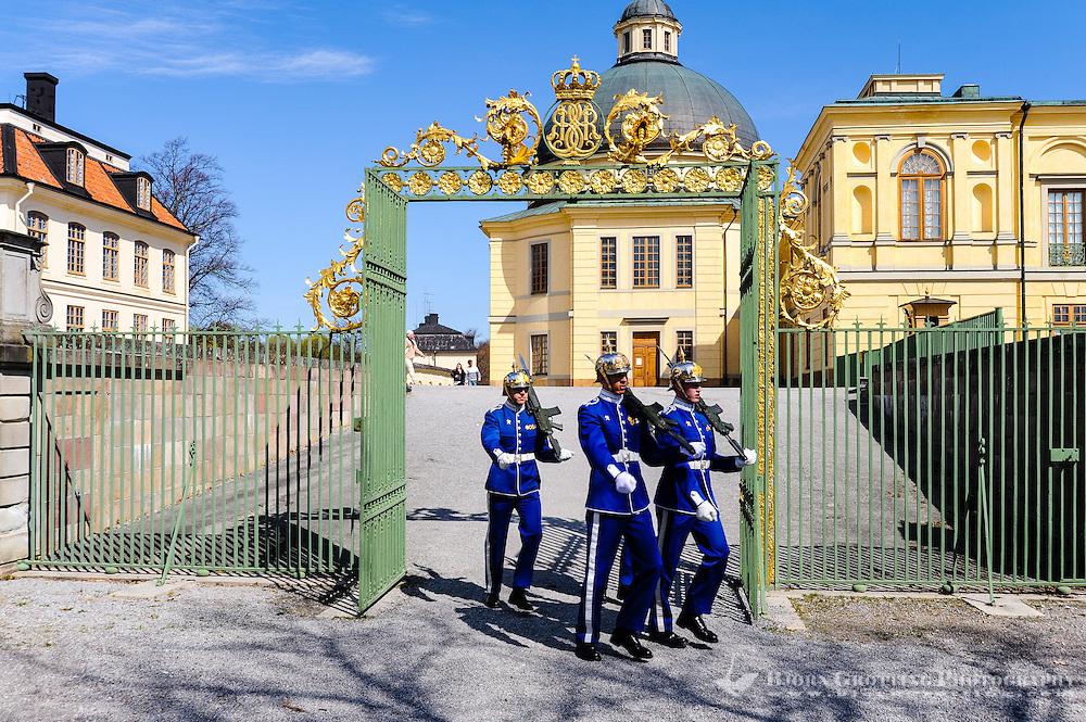 Sweden, Ekerö. The Drottningholm Palace (Drottningholms slott). Royal Guards.