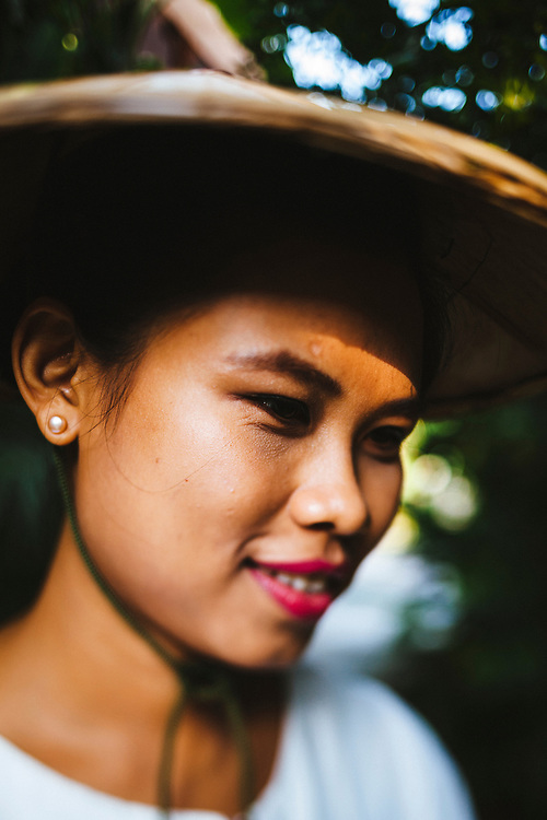 A young woman at the Governor's Residence Hotel in Yangon, Myanmar.