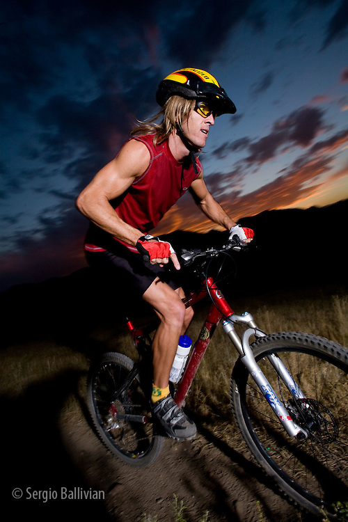 Mountain biker in the Front Range of Boulder, CO at sunset