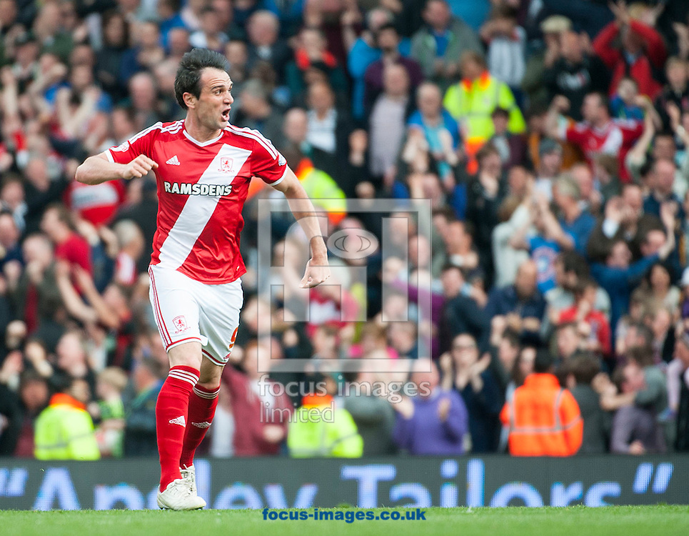 Middlesbrough forward Enrique Garcia celebrates a second half goal during the Sky Bet Championship match at Craven Cottage, London.<br /> <br /> Picture by Jack Megaw/Focus Images Ltd +44 7481 764811<br /> 25/04/2015