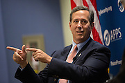 Former Senator and Republican presidential candidate Rick Santorum answers a question during foreign policy forum held by Americans for Peace, Prosperity and Security at the Citadel military college June 30, 2015 in Charleston, South Carolina.