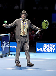 'Jack' from the television show Still Game on court during the doubles match at the Andy Murray Live Event at the SSE Hydro, Glasgow.