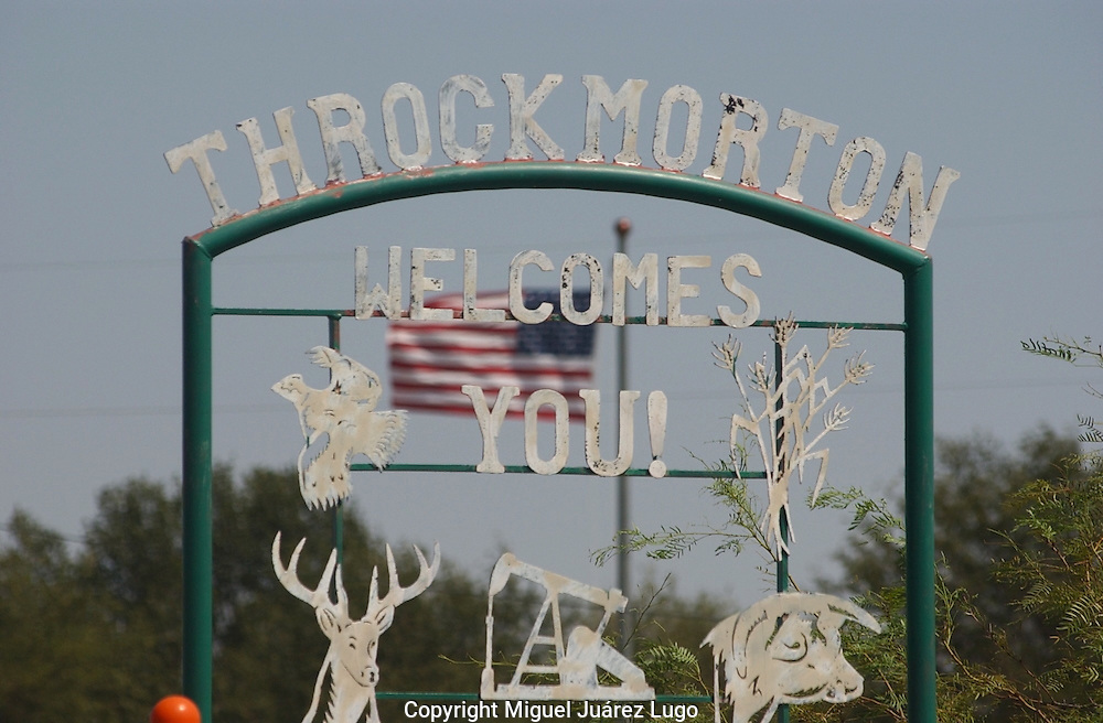 "A welcome sign at the entrance to the town of Throckmorton in Throckmorton County, Texas, where Gov. RIck Perry once leased a hunting camp known as ""Niggerhead."" (PHOTO: MIGUEL JUAREZ LUGO)."