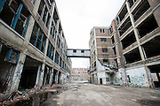 DETROIT, MICHIGAN - APRIL 21: The abandoned Packard Automotive Plant, a former automobile-manufacturing factory in Detroit, seen Tuesday, April 21, 2015 in Detroit, Michigan. (Photo by Bryan Mitchell/Bloomberg)