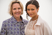 CARLA BAMBERGER; THANDIE NEWTON, Cartier Queen's Cup final at Guards Polo Club, Windsor Great Park. 16 June 2013
