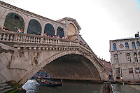 The imposing Rialto Bridge on the Grand Canal in Venice, Italy.