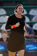 Lindsay Davenport of the Orange County Breakers walks out during player introductions prior to a match against the Springfield Lasers at Mediacom Stadium on July 16, 2012 in Springfield, Missouri. (David Welker/www.Turfimages.com).