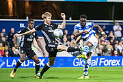 Fulham (13) Tim Ream, QPR (40) Idrissa Sylla during the EFL Sky Bet Championship match between Queens Park Rangers and Fulham at the Loftus Road Stadium, London, England on 29 September 2017. Photo by Sebastian Frej.