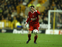 WOLVERHAMPTON, ENGLAND - Wednesday, January 21st, 2004: Liverpool's Jamie Carragher in action against Wolverhampton Wanderers during the Premiership match at Molineux. (Pic by David Rawcliffe/Propaganda)