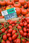 Local produce salad tomatoes and plum tomatoes, at farmers market in Normandy, France