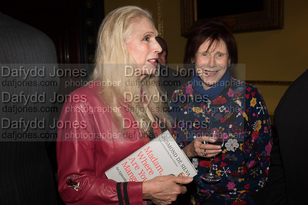 LADY GEORGIA CAMPBELL; MARJORIE WALLACE, Launch hosted by Quartet books  of Madam, Where Are Your Mangoes? by Sir Desmond de Silva at The Carlton Club. London. 27 September 2017.