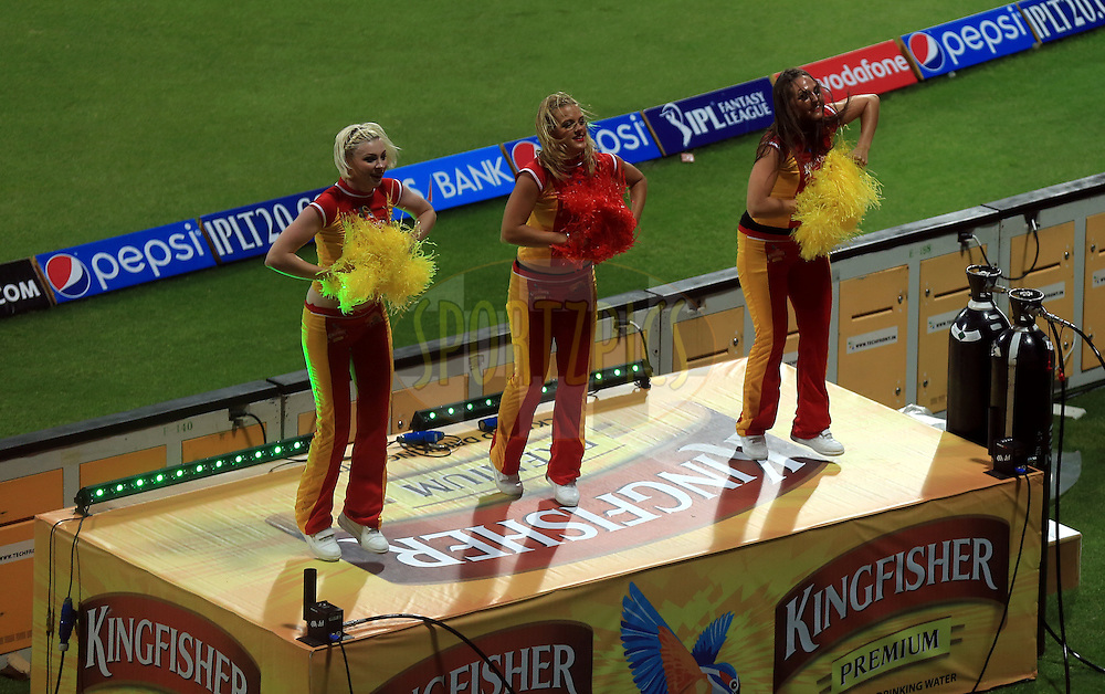 Cheer Girls during match 8 of the Pepsi Indian Premier League 2014 between the Chennai Superkings and The Delhi Daredevils held at the Zayed Cricket Stadium, Sharjah, United Arab Emirates on the 21st April 2014<br /> <br /> Photo by Sandeep Shetty / IPL / SPORTZPICS
