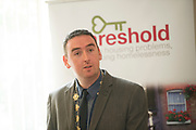 Repro Free: Cllr. Mike Cubbard at the launch of Threshold: The Galway Tenancy Protection Service annual report  by Minister for Community Development, Natural Resources and Digitial Development  Sean Kyne in Galway.  Photo:Andrew Downes, xposure .