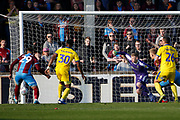 Scunthorpe United forward Kyle Wootton (29) fails to control the ball at the far post during the EFL Sky Bet League 1 match between Scunthorpe United and AFC Wimbledon at Glanford Park, Scunthorpe, England on 30 March 2019.