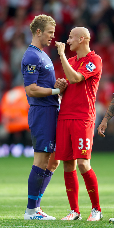 LIVERPOOL, ENGLAND - Sunday, August 26, 2012: Liverpool's Jonjo Shelvey and goalkeeper Joe Hart after the 2-2 draw during the Premiership match at Anfield. (Pic by David Rawcliffe/Propaganda)