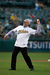 OAKLAND, CA - AUGUST 19:  Former Oakland Athletics player Mike Epstein throws out the ceremonial first pitch before an interleague game against the New York Mets at O.co Coliseum on August 19, 2014 in Oakland, California. The Oakland Athletics defeated the New York Mets 6-2.  (Photo by Jason O. Watson/Getty Images) *** Local Caption *** Mike Epstein