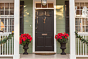 Christmas poinsettias on a historic home in Savannah, GA.