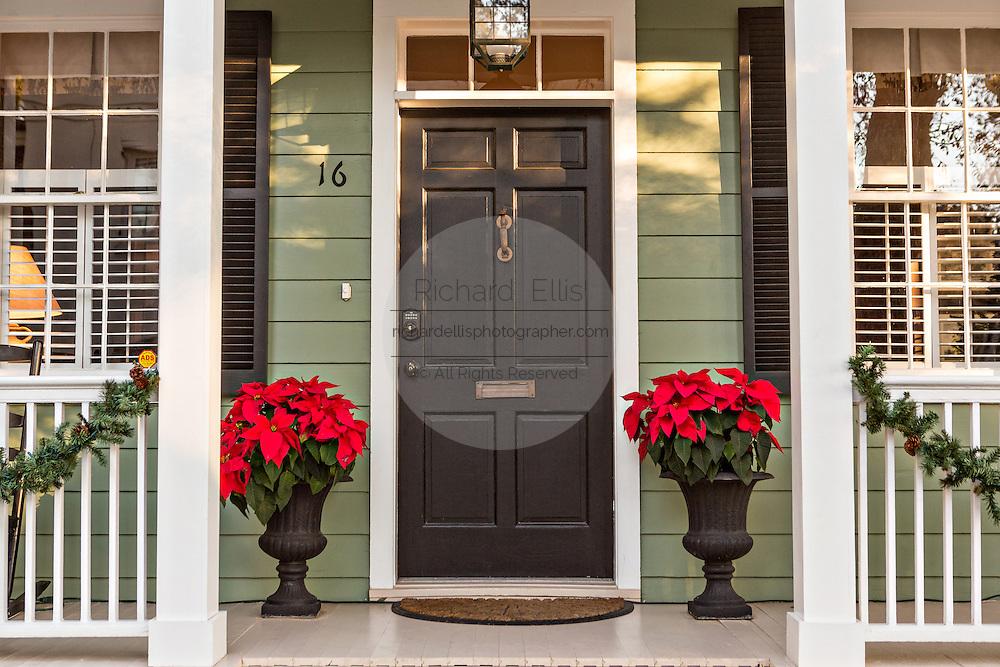 Christmas poinsettias on a historic home in Savannah, GA.