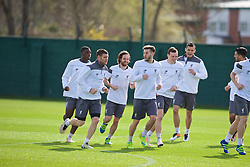 LIVERPOOL, ENGLAND - Wednesday, April 13, 2016: Liverpool's Sheyi Ojo, James Milner, Joe Allen, Adam Lallana, Brad Smith and Dejan Lovren during a training session at Melwood Training Ground ahead of the UEFA Europa League Quarter-Final 2nd Leg match against Borussia Dortmund. (Pic by David Rawcliffe/Propaganda)