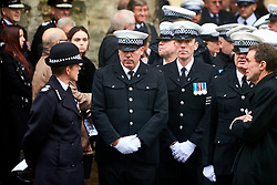 © Licensed to London News Pictures. 14/10/2019. Oxford, UK.  Funeral of PC Andrew Harper in Christ Church, Oxford. In this picture: Police officers leaving after the service. Photo credit: Cliff Hide/LNP