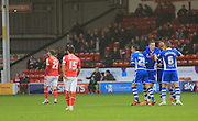 Ian Henderson goal celebrations during the Sky Bet League 1 match between Walsall and Rochdale at the Banks's Stadium, Walsall, England on 2 January 2016. Photo by Daniel Youngs.