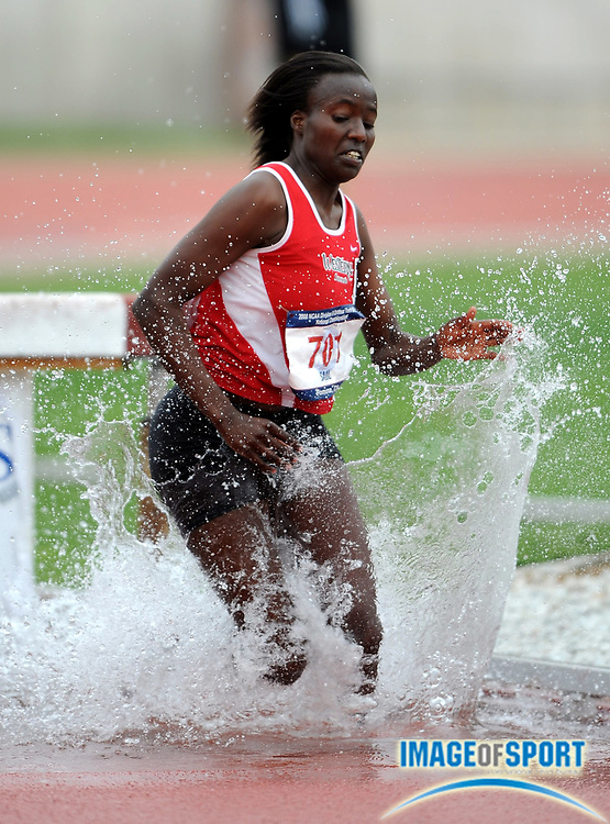 May 24, 2008; Walnut, CA, USA; Sheila Salil of Western State splashes through the water jump in the women's steeplechase in the NCAA Division II Track & Field Championships at Mt. San Antonio College's Hilmer Lodge Stadium. Salil was seventh in 10:34.40.