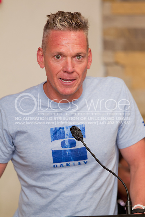 Ricky Jeffs, Urban Hotels. Official Pre-Race Press Conference. 2012 Ironman Melbourne. Asia-Pacific Championship. Hosted By USM Events. 22/03/2012. Photo By Lucas Wroe.