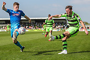 Forest Green Rovers Scott Laird(3) crosses the ball during the EFL Sky Bet League 2 match between Forest Green Rovers and Grimsby Town FC at the New Lawn, Forest Green, United Kingdom on 5 May 2018. Picture by Shane Healey.