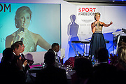 UK charity, Sport for Freedom (SFF), marks Anti-Slavery Day 2015 by hosting a charity Gala Dinner, supported by Aston Martin, on Thursday 15th October at Stamford Bridge, home of Chelsea Football Club. This inaugural event brought together people from the world of sport, entertainment, media, and business to unite behind a promise to tackle the issue of modern day human trafficking and slavery.  <br /> Hosted by Sky presenters Sarah-Jane Mee and Jim White, the Sport for Freedom Gala Dinner includes guests such as jockey AP McCoy OBE; Denise Lewis, former British Olympic Gold Medal winner; BBC Strictly star, Brendan Cole; Al Bangura, former Watford FC player and Sport for Freedom Ambassador who was trafficked from Africa to the UK at the age of just 14yrs old; Made in Chelsea star, Ollie Proudlock; ITV weather presenter, Lucy Verasamy; Sky Sports F1 presenter and SFF Ambassador, Natalie Pinkham; Premier League footballers Ryan Bertrand of Southampton FC and Troy Deeney of Watford FC and champion boxer, Anthony Joshua; and The UK's first independent Anti Slavery Commissioner, Kevin Hyland OBE, who highlighted the issues of modern day slavery that face the UK and world today. <br /> The evening concluded with chart topping music from 'Naughty Boy'. <br /> Sport for Freedom are also joining forces with the Premier League Academies for an international  'Football for Freedom' tournament with their U16's players that will also involve educating those taking part about the issues surrounding modern day slavery. The final will take place at Liverpool FC's Academy on Anti-Slavery Day, 18th October.