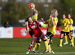 Chloe Arthur of Bristol City Women challenges for the ball with Maddy Cusak of Aston Villa Ladies - Mandatory by-line: Robbie Stephenson/JMP - 02/01/2012 - FOOTBALL - Stoke Gifford Stadium - Bristol, England - Bristol City Women v Aston Villa Ladies - FA Women's Super League 2