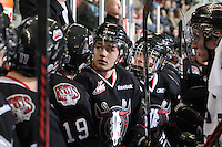 KELOWNA, CANADA - FEBRUARY 18: Marc MacKenzie #27 of the Red Deer Rebels sits on the bench as the Red Deer Rebels visit the Kelowna Rockets on February 18, 2012 at Prospera Place in Kelowna, British Columbia, Canada (Photo by Marissa Baecker/Shoot the Breeze) *** Local Caption ***