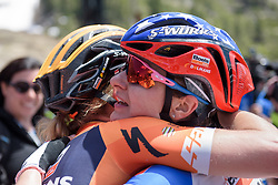 Megan Guarnier celebrates win with Amy Pieters at Amgen Breakaway from Heart Disease Women's Race empowered with SRAM (Tour of California) - Stage 1. A 117km road race around Lake Tahoe, USA on 11th May 2017.