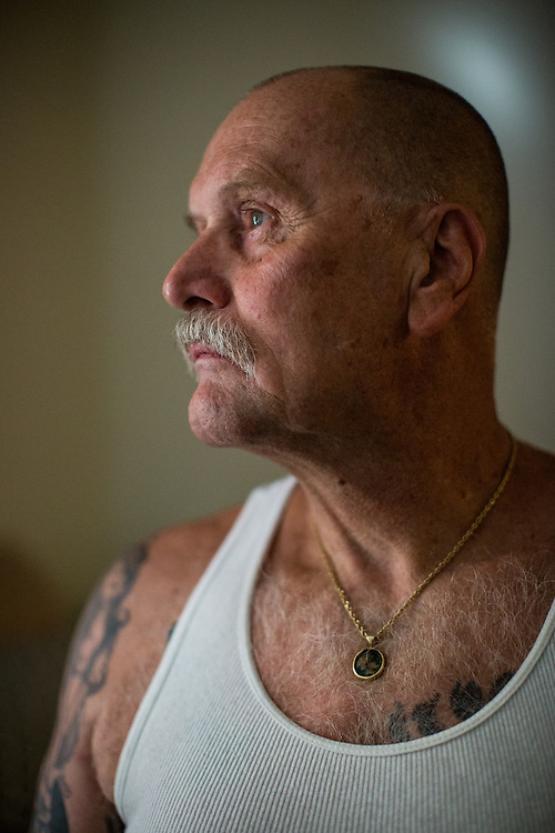 STOCKTON, CA - JULY 27, 2015:  Lonnie Rose poses for a portrait in his bedroom. Rose spent years in solitary confinement at Pelican Bay State Prison. CREDIT: Max Whittaker for The New York Times