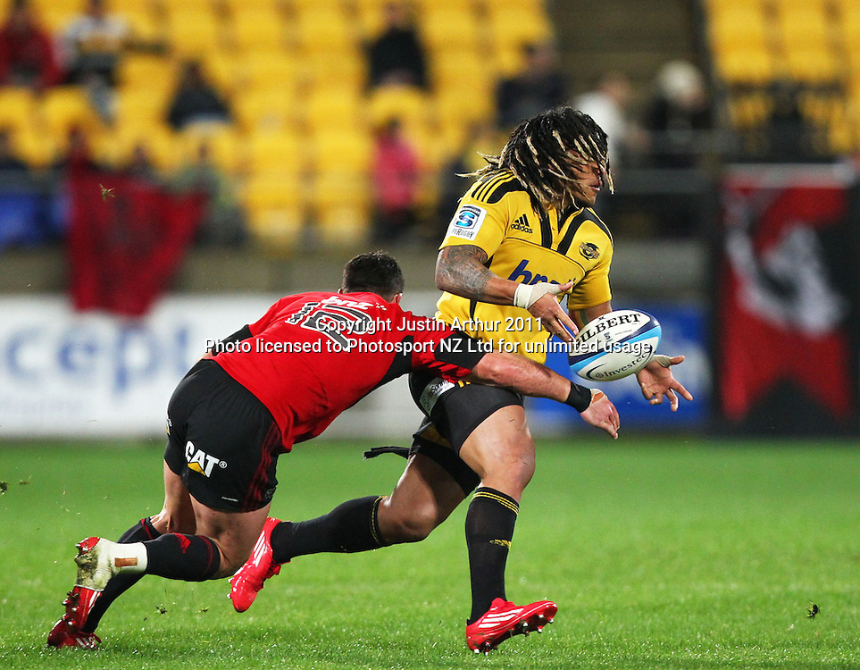Hurricanes Ma'a Nonu gets a pass away.Super15 rugby union match - Crusaders v Hurricanes at Westpac Stadium, Wellington, New Zealand on Saturday, 18 June 2011. Photo: Justin Arthur / photosport.co.nz