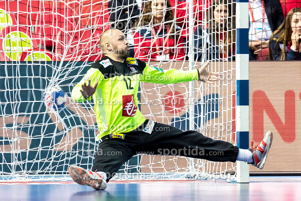 12.05.2017, Zatika Sport Centre, Porec, CRO, EHF EM, Herren, Frankreich vs Weissrussland, Gruppe B, im Bild Vincent Gerard (FRA) // during the preliminary round, group B match of the EHF men's Handball European Championship between France and Belarus at the Zatika Sport Centre in Porec, Croatia on 2017/05/12. EXPA Pictures © 2018, PhotoCredit: EXPA/ Sebastian Pucher