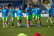 FGR players taking a drinks break during the warm up during the Vanarama National League match between Guiseley  and Forest Green Rovers at Nethermoor Park, Guiseley, United Kingdom on 8 April 2017. Photo by Shane Healey.