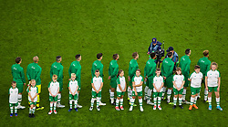 CARDIFF, WALES - Thursday, September 6, 2018: Republic of Ireland players line-up for the national anthem before of the UEFA Nations League Group Stage League B Group 4 match between Wales and Republic of Ireland at the Cardiff City Stadium. (Pic by Laura Malkin/Propaganda)