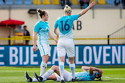 Kaja Erzen of Slovenia and Lana Golob of Slovenia during football match between Slovenia and Germany in Womans Qualifications for World Championship 2019, on April 10, 2018 in Sports park Domzale, Domzale, Slovenia. Photo by Ziga Zupan / Sportida