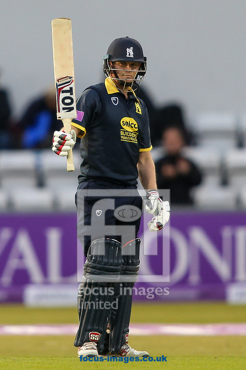 William Porterfield of Warwickshire CCC acknowledges the applause on reaching his half-century during the Royal London One Day Cup match at the County Ground, Northampton<br /> <br /> Picture by Andy Kearns/Focus Images Ltd 0781 864 4264<br /> 27/04/2017