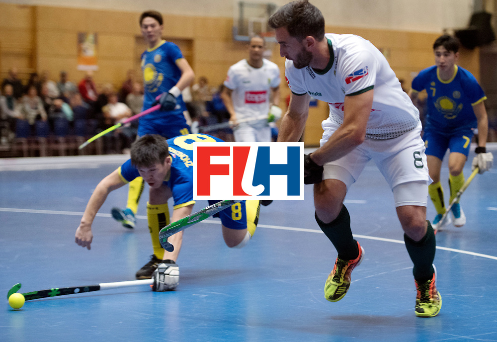 BERLIN - Indoor Hockey World Cup<br /> Kazakhstan - South Africa<br /> foto: Wade Paton and Maxat Zhokenbayev <br /> WORLDSPORTPICS COPYRIGHT FRANK UIJLENBROEK