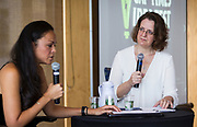 """Actress Karen Olivo, left, speaks with Artistic Director Jennifer Uphoff Gray during the Cap Times Idea Fest 2018 """"Broadway, 'Hamilton' and Forward"""" at the Pyle Center in Madison, Wisconsin, Saturday, Sept. 29, 2018."""