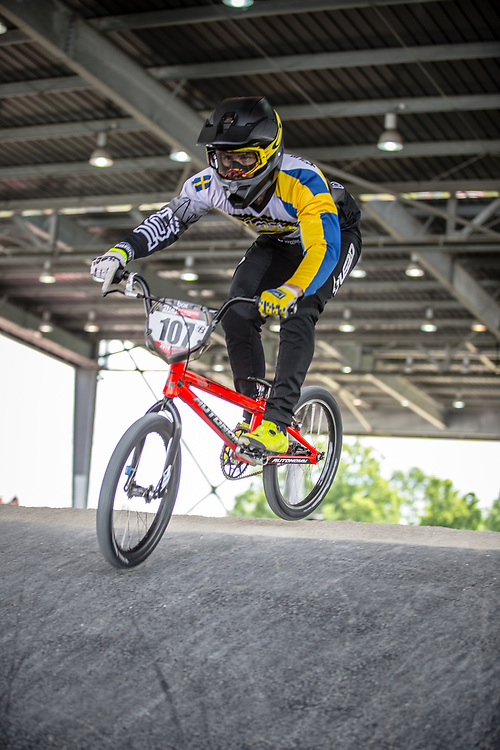 #107 (SVANBERG Filip) SWE at Round 6 of the 2019 UCI BMX Supercross World Cup in Saint-Quentin-En-Yvelines, France