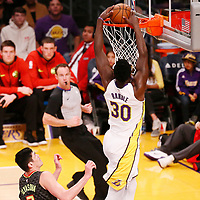 07 January 2018: Los Angeles Lakers forward Julius Randle (30) dunks the ball during the LA Lakers 132-113 victory over the Atlanta Hawks, at the Staples Center, Los Angeles, California, USA.