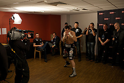 Carl Froch prepares in the dressing room before the fight. Andre Dirrell v Carl Froch , WBC Super Middleweight fight, October 17, 2009 at Trent FM Arena in Nottingham, England.