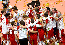 September 30, 2018 - Turin, Italy - Poland v Brazil - FIVP Men's World Championship Final.Poland celebrates after the last decisive point won at Pala Alpitour in Turin, Italy on September 30, 2018. (Credit Image: © Matteo Ciambelli/NurPhoto/ZUMA Press)