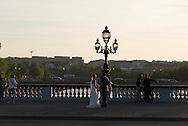 France. Paris Pont Alexandre-III bridge  ,, on Seine River seen from the bateau  mouche