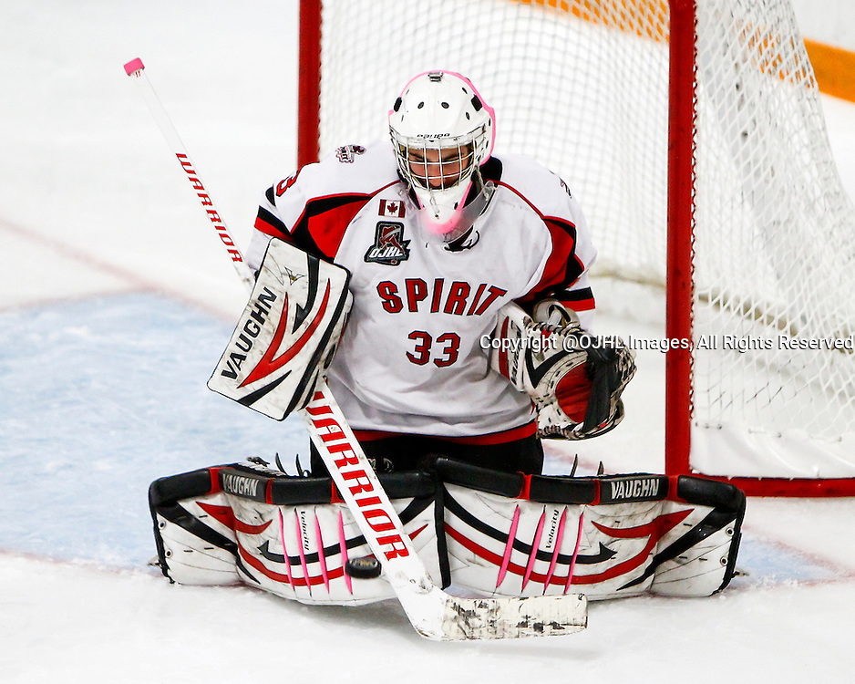 AURORA, ON - Oct 3, 2014 : Ontario Junior Hockey League game action between Stouffville and Aurora, Aaron Taylor #33 of the Stouffville Spirit Hockey Club.<br /> (Photo by Brian Watts / OJHL Images)