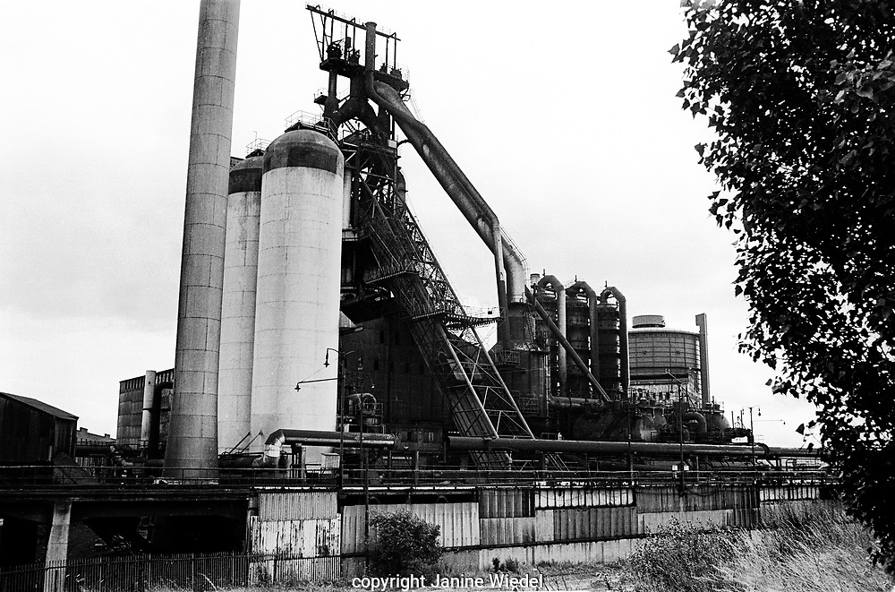 General view of Bilston Blast Furnace Plant from across the canal.Bilston Steelworks Open Heart furnace in The Black Country West Midlands in the 1978 . It closed down in 1979