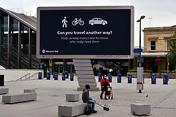 Large signage outside Reading Station showing new station pedestrian area. Easing of Coronavirus lockdown, UK 12 June 2020