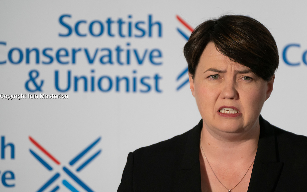 Edinburgh, Scotland, UK. 29 August 2019. Scottish Conservative Party Leader Ruth Davidson MSP resignation speech in Edinburgh today. Iain Masterton/Alamy Live News.